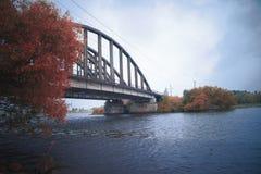 Iron bridge in the fog royalty free stock photos