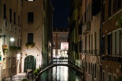 Night view Bridge over the Rio de l`Alboro, Venice, Italy. stock photos