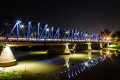 Iron Bridge At Night in Chiangmai Thailand Royalty Free Stock Photography