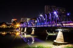 Iron Bridge At Night in Chiangmai Thailand Stock Photo