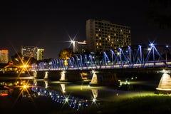 Iron Bridge At Night in Chiangmai Thailand Stock Photography
