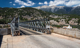 Iron bridge over Aradena gorge. Crete island, Greece Royalty Free Stock Photos
