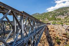 Iron bridge over Aradena gorge, Crete island. Greece Royalty Free Stock Photo