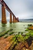 Iron bridge over bay in Edinburgh Stock Photo