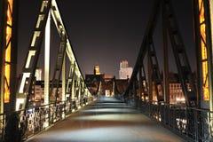 Pedestrian iron bridge in city of Frankfurt Stock Photography