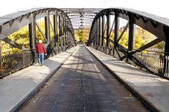 Iron bridge on Valladolid, Spain stock photo