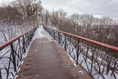 Iron bridge over a pond. In a winter day Stock Photography