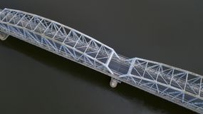 Iron bridge over the river view from the drone royalty free stock image
