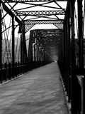 Iron bridge in Pittsburgh. A perspective photo of an iron bridge in Pittsburgh in black and white Stock Images