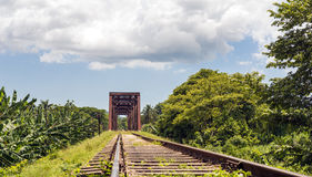 Iron bridge in a railroad Royalty Free Stock Photos