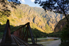 Iron bridge on the railway track to Machu Picchu, Peru Royalty Free Stock Photo