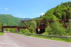 Iron bridge in Rakhiv, Ukraine. Rakhiv is a Geographical centre of Europe Stock Photo