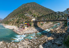 Iron bridge in Rudraprayag Royalty Free Stock Photo