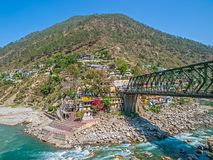 Iron bridge in Rudraprayag Royalty Free Stock Photo