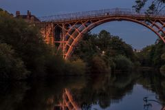 Iron bridge Shropshire. Stream river wales get outside walking long exposure Royalty Free Stock Images