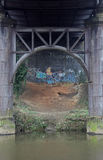 Iron Bridge structure with graffiti. Underside of Iron Bridge structure on river Don, Soth Yorkshire with graffiti Royalty Free Stock Photo
