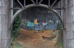 Iron Bridge structure with graffiti Royalty Free Stock Photography