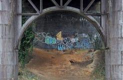 Iron Bridge structure with graffiti. Underside of Iron Bridge structure on river Don, Soth Yorkshire with graffiti Royalty Free Stock Photography