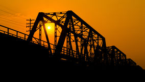 Iron bridge at sunset. Old Iron bridge at sunset Stock Images