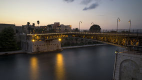 The iron bridge of taranto stock photography