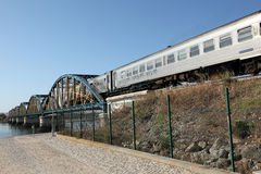 Iron bridge and train Stock Photography