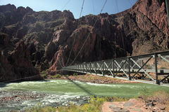 Iron Bright Angel bridge over Colorado river Royalty Free Stock Image