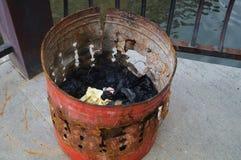 The iron bucket burning paper money Royalty Free Stock Photo