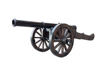 Iron cannon isolated over white Royalty Free Stock Photography