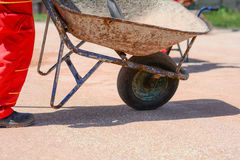 Iron cart on a construction site. Photo was taken on a nice sunny day. Time: about noon. Photo was taken on a construction site near football stadium Spartak stock photos