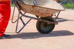 Iron cart on a construction site Stock Photos