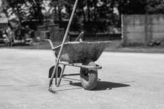 Iron cart on a construction site. Photo was taken on a nice sunny day. Time: about noon. Photo was taken on a construction site near football stadium Spartak stock image