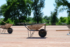 Iron carts on a construction site. Photo was taken on a nice sunny day. Time: about noon. Photo was taken on a construction site near football stadium Spartak Stock Photography