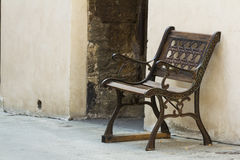 Iron cast bench on a street from Tuscany Stock Photography