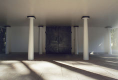 Free Iron Cast Doors And Pillars Before A Cemetary Crematorium And Chapel. Stock Photos - 60755423