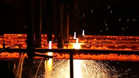 Iron cast in steel making factory stock video
