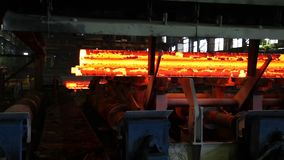 Iron cast in steel making factory stock video footage