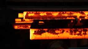 Iron cast in steel making factory stock footage
