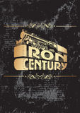 Iron century_golden. Vectorial decorative composition with a locomotive on grunge black background Royalty Free Stock Photo