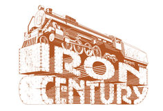 Iron century grunge. Vectorial decorative composition with a locomotive, executed in the restrained gamut Royalty Free Stock Image