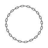 Iron chain. Circle frame of  rings of chain. Vector illustration Royalty Free Stock Photography