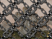 Iron chain with cross at cemetery Stock Image