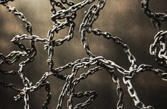 Iron chain link. Abstract iron chain link on copper background Stock Photos
