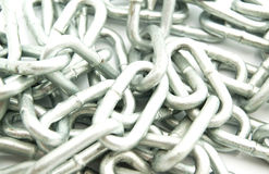 Iron chain links. Closeup on white background royalty free stock images