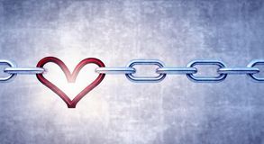 Iron chain with red heart as the one the links royalty free stock photography