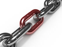 Iron chain with red link Royalty Free Stock Photography