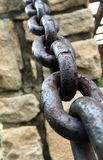 Iron chain and stone garden walls 1 Stock Photo