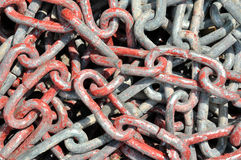 Iron chain under sun lighting Stock Photo