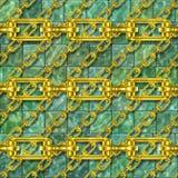 Iron chains with glazed tiles seamless texture Stock Photos