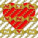 Iron chains with heart texture Stock Photo