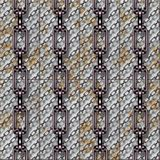Iron chains with metal panels seamless texture. Or background royalty free illustration